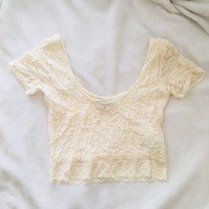 Cream Lace Short Sleeve Crop Top